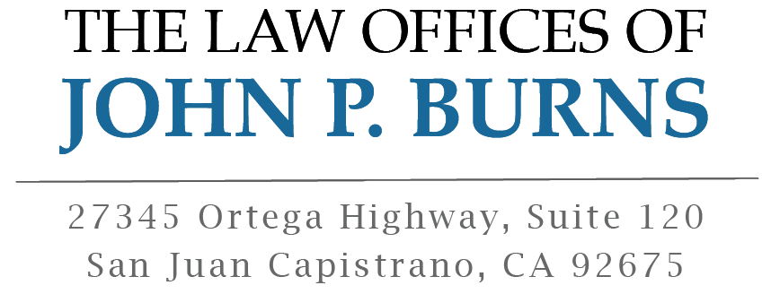San Juan Capistrano car accident lawyer, John P. Burns - logo and address